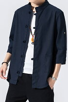 Chic Mandarin 3/4-sleeve Cotton Shirt - Dark Navy (RM)
