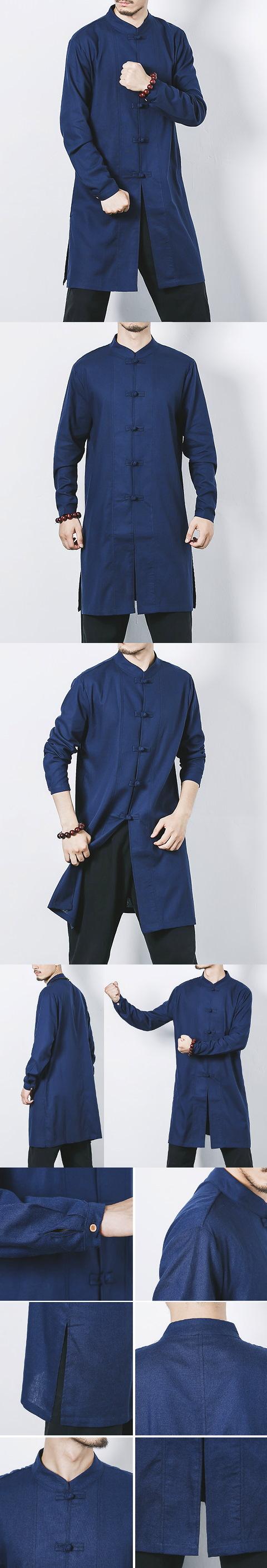 Extra Long-length Cotton Linen Mandarin Top (RM/CM)
