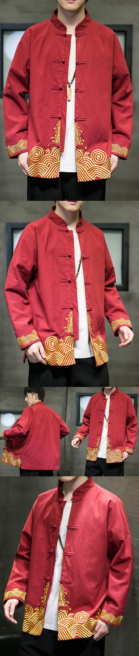 Embroidery Cotton-linen Long-sleeve Mandarin Top (RM)