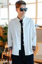 Long-sleeve Cotton Linen Mandarin Top (RM)