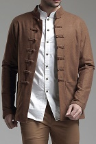 Long-sleeve Suede Mandarin Shirt/Jacket(CM)
