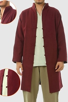 Long-length Cotton-linen Mandarin Shirt/Jacket(CM)