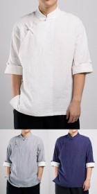 Mandarin Elbow-Folding-sleeve Right-incline Shirt (RM)