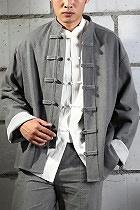 唐裝白色翻袖立領夾克短褂(定做)