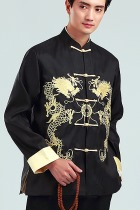 Mandarin Dual-dragon Embroidery Thai Silk Jacket (RM)
