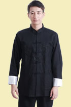 唐裝繡雙龍戲珠亞麻夾克(成衣)
