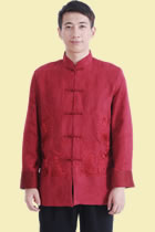唐裝繡雙龍戲珠麂皮絨夾克(成衣)