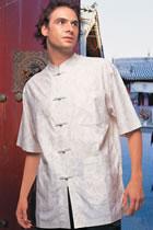 Short-sleeve Jacquard Mandarin Shirt (CM)