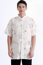 Short-sleeve Bamboo Leaves Mandarin Shirt - Beige (RM)
