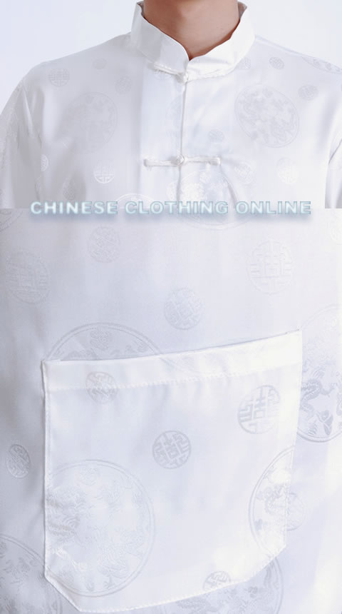 Short-sleeve Huddling Dragons Mandarin Shirt - Cream White (RM)