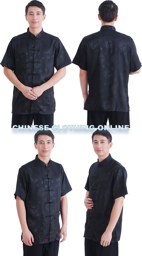 Short-sleeve Huddling Dragons Mandarin Shirt - Black (RM)
