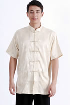 Short-sleeve Huddling Dragons Mandarin Shirt - Light Gold (RM)