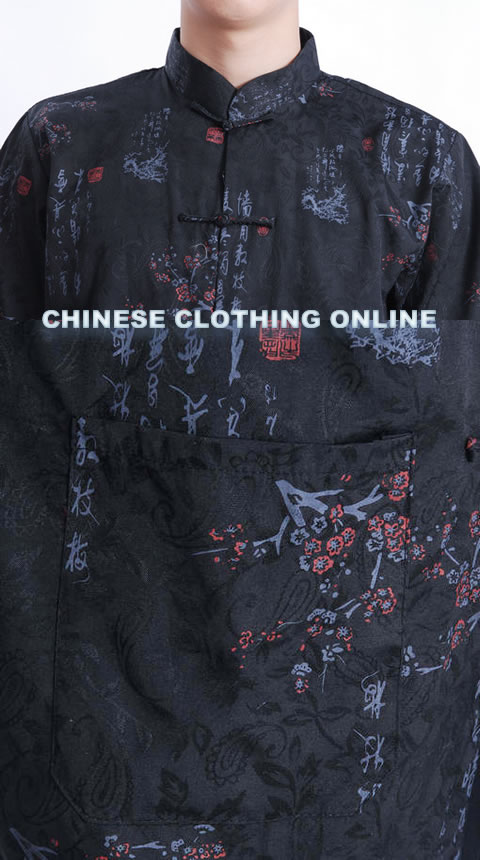 Short-sleeve PLum Blossoms Mandarin Shirt - Black (RM)