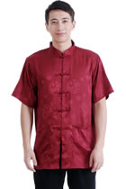Short-sleeve Huddling Dragons Mandarin Shirt - Dark Red (RM)