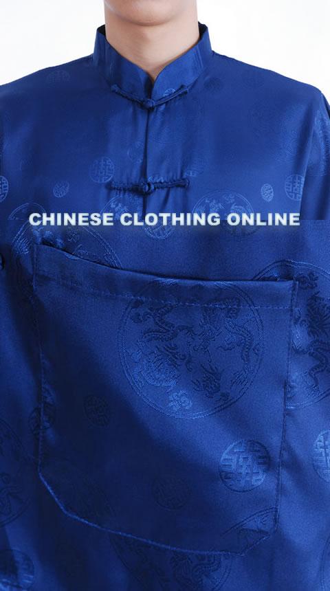 Short-sleeve Huddling Dragons Mandarin Shirt - Dark Blue (RM)