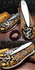 中國風小圓口織錦緞布鞋(成品)
