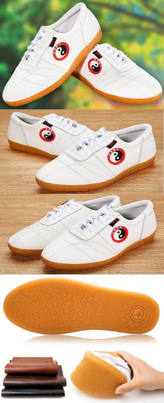 專業軟牛皮太極鞋(白色 )