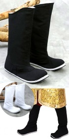 Archaic Han Style Tipping-Head Cloth Boots w/ Rubber sole