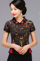 Exquisite Gauze Ethnic Printing Blouse (RM)