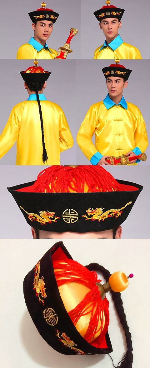 Chinese Qing Dynasty Royal Highness Hat w/ Pigtail for Adults/Kids