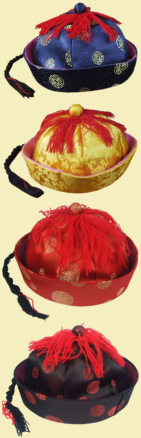 Chinese Qing Dynasty Official Hat w/ Pigtail for Kids