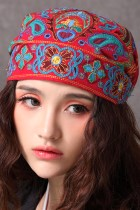 Ethnic Phoenix Embroidery Scarf Cap
