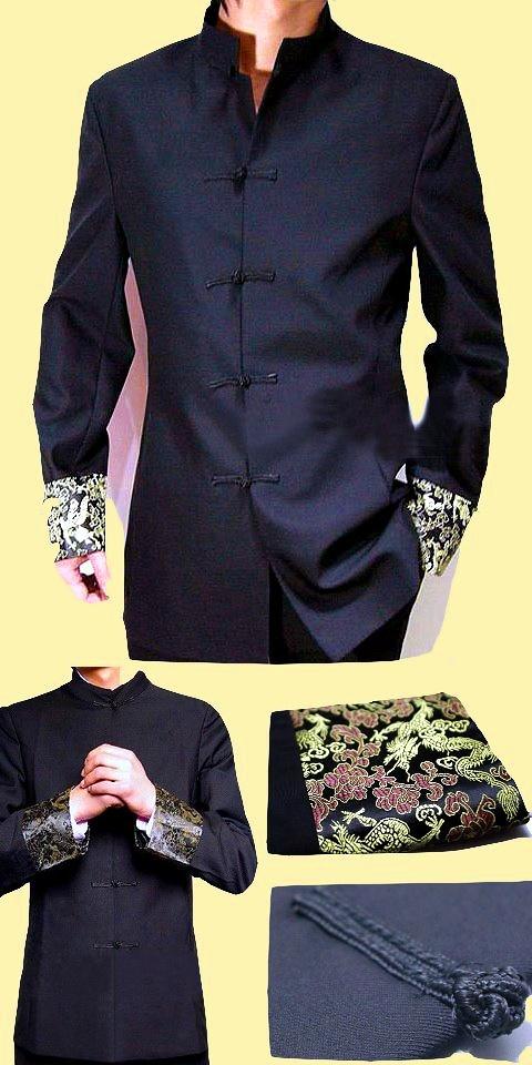 特價品-改良版織錦緞袖口中山裝夾克(成衣)