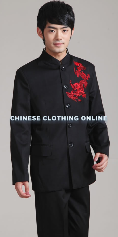 Modernised Mao Suit with Red Embroidery Dragon (RM)