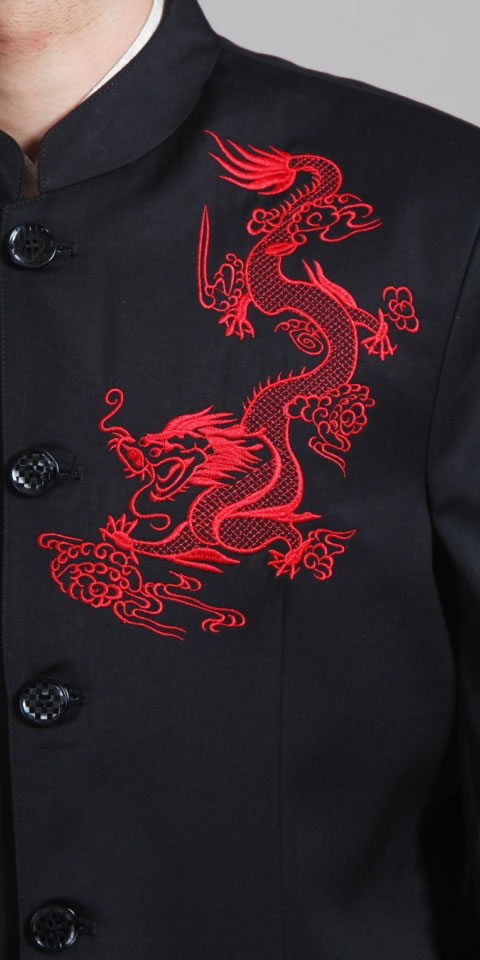 Bargain - Modernised Mao Jacket with Red Embroidery Dragon (RM)