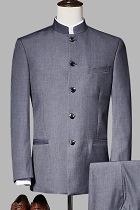 Modernised Snug Fit Mao Suit - Dk Grey (RM)