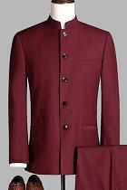 Modernised Snug Fit Mao Suit - Maroon (RM)
