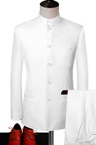 Modernised Snug Fit Mao Suit - White (RM)