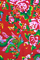 Fabric - Peony & Phoenix Tail Printed Cotton (Multicolor)