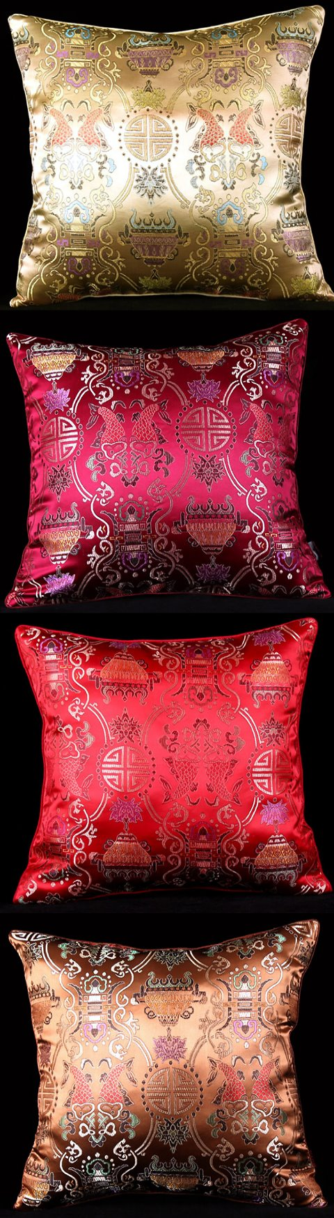 Chinese Ethnic Lotus Embroidery Cushion Cover
