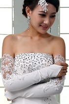 Women Extra-long Lace Gloves (White)