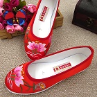 Satin Lotus Embroidery Shoes (Red)