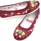 Satin Pomegranate Flower Embroidery Shoes (Burgundy)