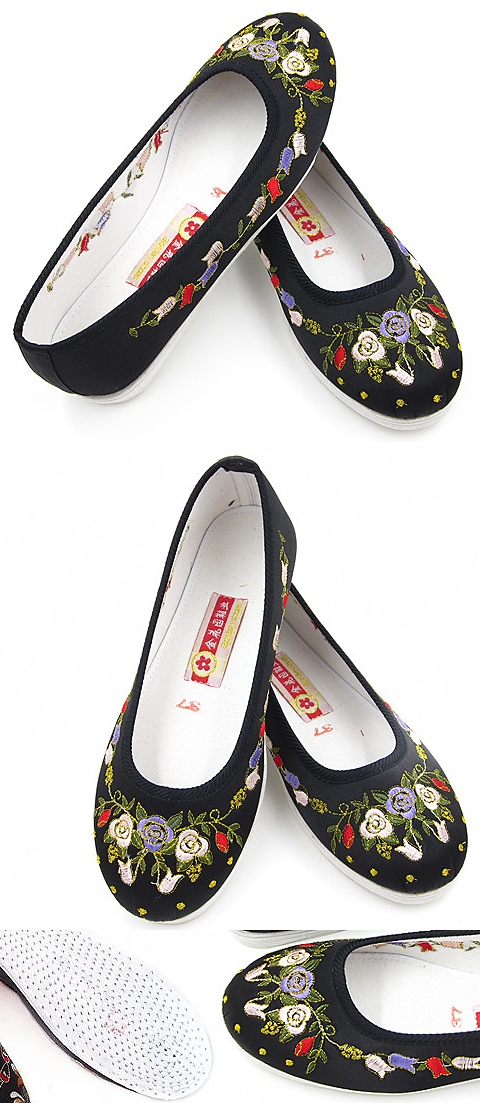 Satin Pomegranate Flower Embroidery Shoes (Black)