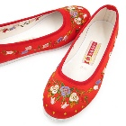 Satin Pomegranate Flower Embroidery Shoes (Red)