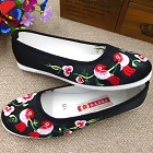 Satin Flower and Bird Embroidery Shoes (Black)