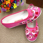 Satin Flower and Bird Embroidery Shoes (Fuchsia)