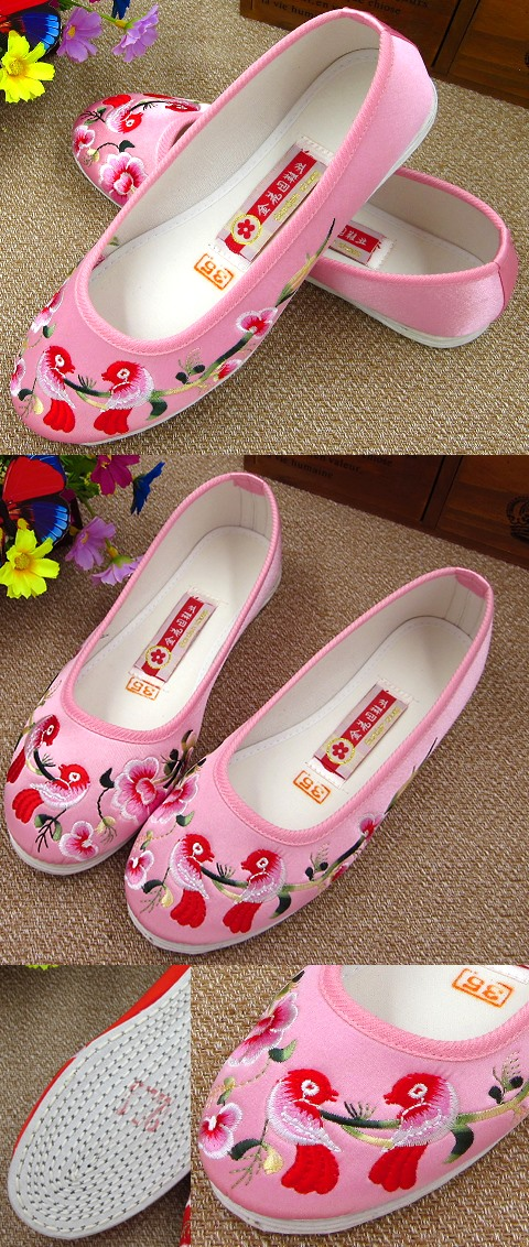 Satin Flower and Bird Embroidery Shoes (Pink)