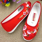Satin Flower and Bird Embroidery Shoes (Red)