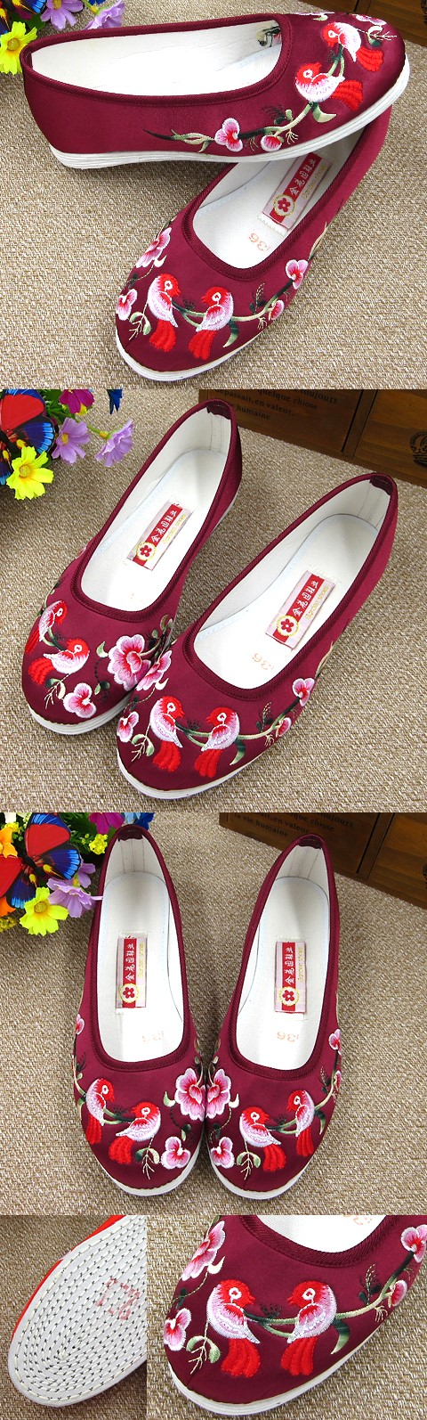 Satin Flower and Bird Embroidery Shoes (Violet Red)