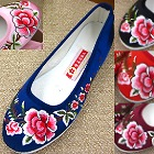 Satin Peony Mudan Embroidery Shoes
