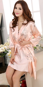 2-piece Floral Lace Silk Robe (RM)
