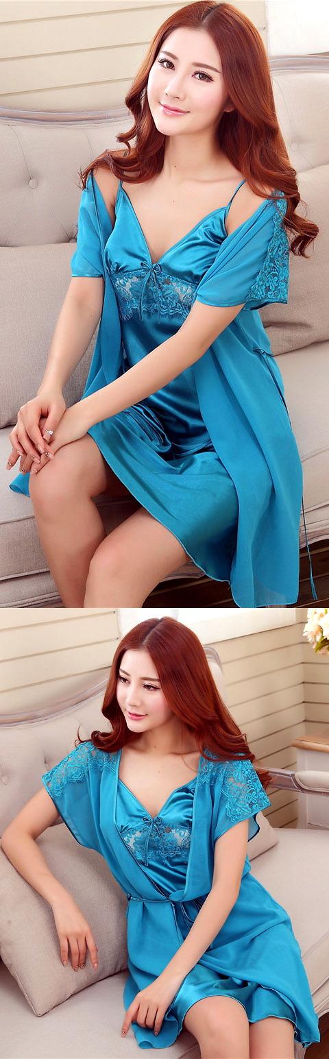 2-piece Embroidery Guaze Silk Robe (RM)