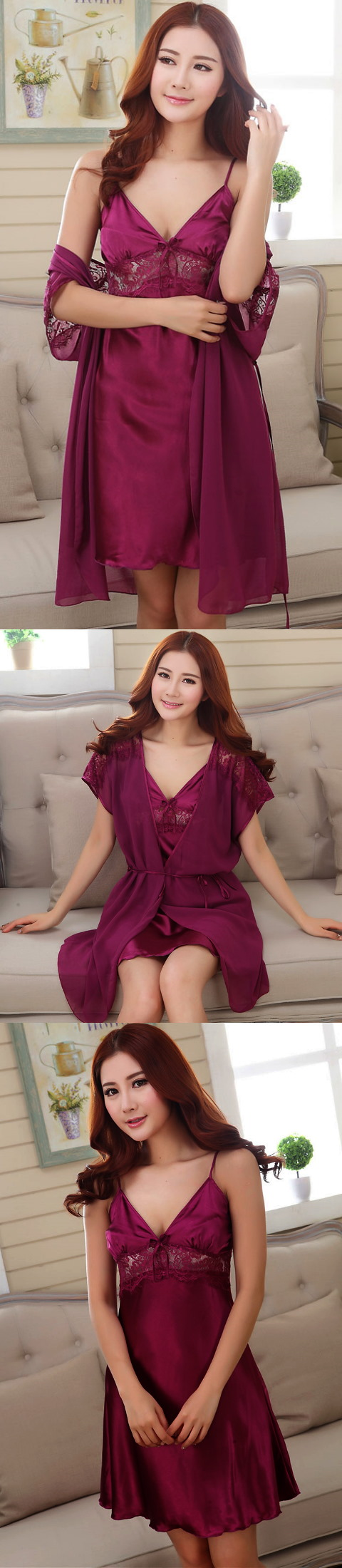 2-piece Embroidery Guaze Silk Robe (RM)