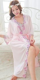 2-piece Floral Embroidery Long Silk Robe (RM)