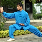Professional Taichi Kungfu Uniform with Pants - Cotton/Silk - Blue (RM)